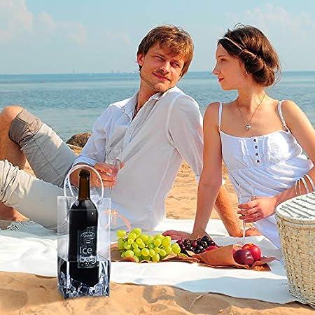 3 Piezas Bolsa de Vino de Hielo Transparente Plegable Bolsa de Enfriador de Vino Bolsas de Vino de PVC con Asa para Champán Cerveza Fría Vino Blanco Bebidas Heladas