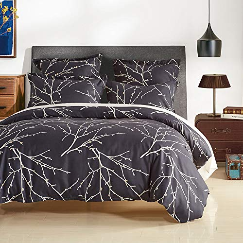 Argstar 3 Pcs Queen Duvet Covers Set, Tree Branch Leaves Printed Pattern Bed Sets, Beige and Navy Blue Reversible Comforter Cover, Soft Lightweight Microfiber, 1 Duvet Cover and 2 Pillowcases ()