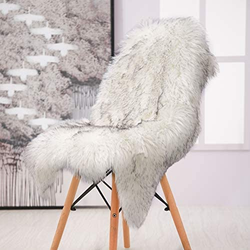 Softlife Faux Fur Sheepskin Area Rug Shaggy Wool Carpet for Bedroom Living Room Home Decor 2ft X 3ft, White-Grey Tip Irregular