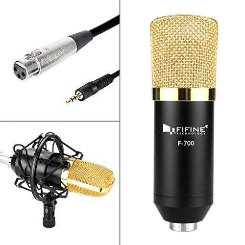 F700 Audio (Condenser Recording Microphone,Fifine® F-700 Studio Condenser Microphone With Metal Shock Mount/Anti-wind Foam Cap /Microphone Audio Cable-Black)