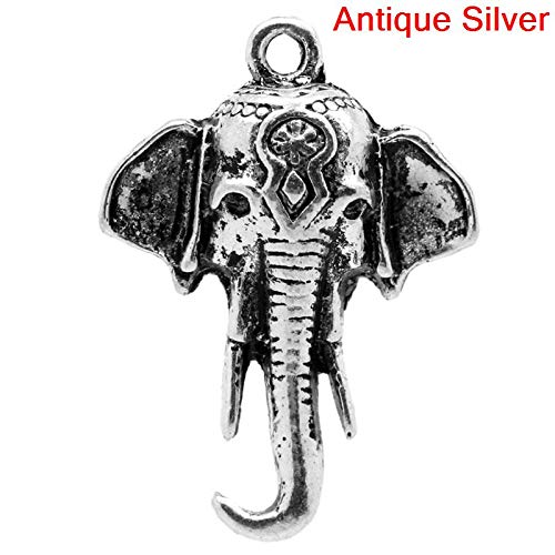 PEPPERLONELY 30pc Antiqued Silver Alloy Elephant Head Animal Charms Pendants 25x18mm (1