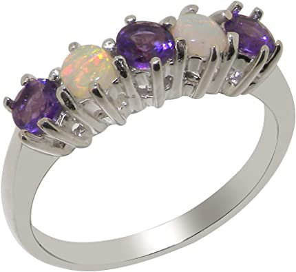925 Solid Sterling Silver NATURAL AMETHYST Eternity Band Ring FULL UK HALLMARK