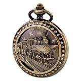 TREEWETO Antique Mens Pocket Watch Skeleton Mechanical Hollow Bronze Case 3D Steam Train Railroad Roman Numerals