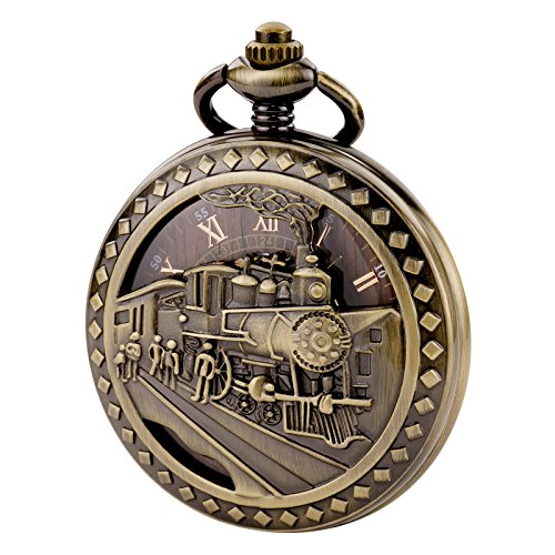 TREEWETO Antique Mens Pocket Watch Skeleton Mechanical Hollow Bronze Case 3D Steam Train Railroad Roman Numerals