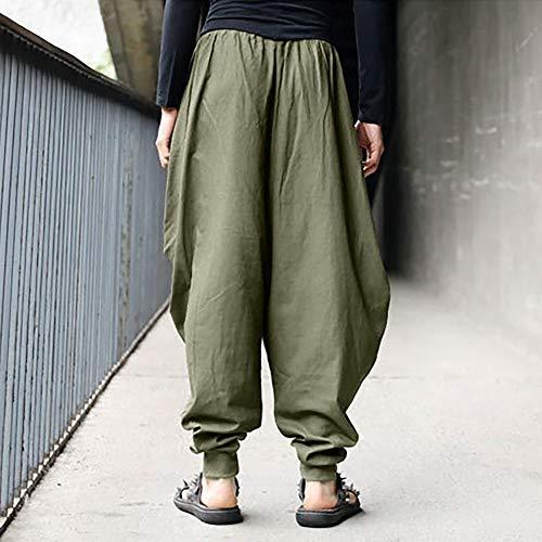 Pantalone uomo Lino Pantaloni Cotone Harem Retrò Festival Gypsy Pantaloni Verde Paolian Uomo Larghi Pants nwEY5qWz