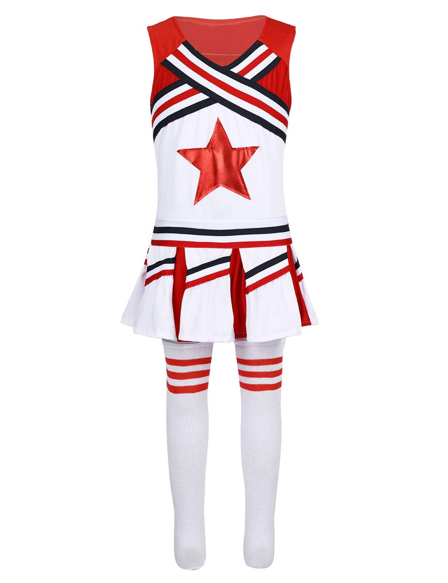 inlzdz Fille Uniforme Cheerleading Pom-Pom Gril Uniform High School Musical Costume Uniforme Ecolière Ensembles Gymnastique Haut+Jupe-Short Evasée+Chausette Champion 4-14 Ans