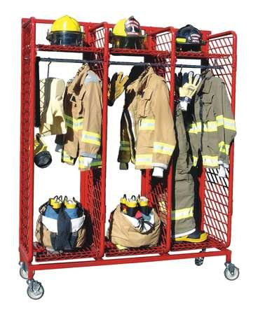 (Turnout Gear Rack, Mobile, 3 Compartment)