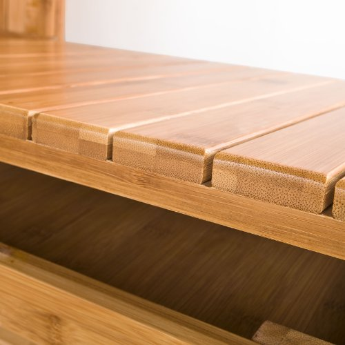 Sobuy zapatero banco zapatero estanter a de bamb con for Zapatero color madera
