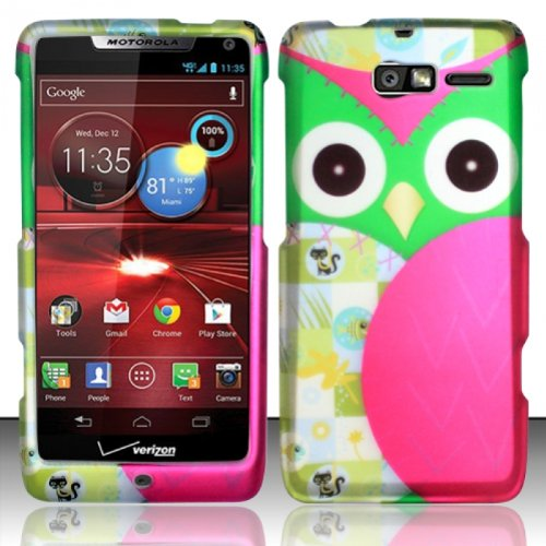 ((4 Items Combo : Case - Screen Protector Film - Case Opener - Stylus Pen) Rubberized Black Green Purple silver Cat Owl Snap on Design Case Hard Case Skin Cover Faceplate)
