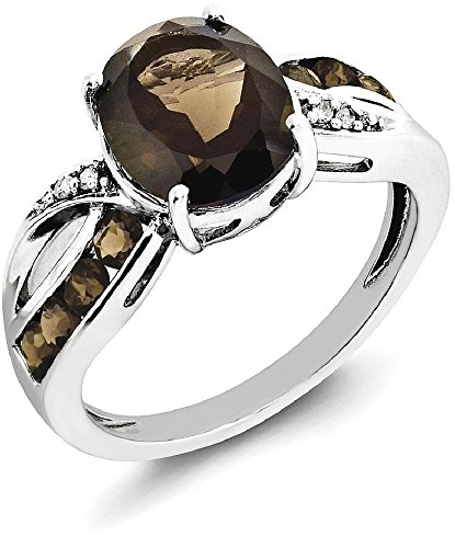 ICE CARATS 925 Sterling Silver Diamond Smoky Quartz Band Ring Size 8.00 Gemstone Fine Jewelry Gift Set For Women Heart (Diamond Sister Ring)