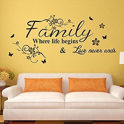 Iuhan® Fashion Art Family Beautiful Flower Wall Stickers Home Words Decor Wall Sticker