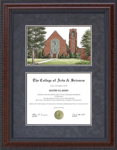 Diploma Frame with University of Tennessee Chattanooga Lithograph - 18 x 24 vertical (portrait) - Lithograph Tennessee Chattanooga
