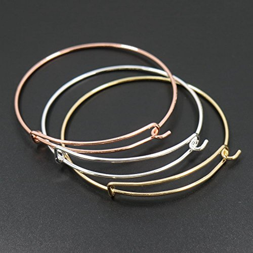 6pcs Mix Style Rose Gold/Gold/Silver Expandable Wire Bangle Bracelet for Charms Adjustable for Stacking Charm Bracelets Bracelet Blanks (Bracelet Blanks Gold)