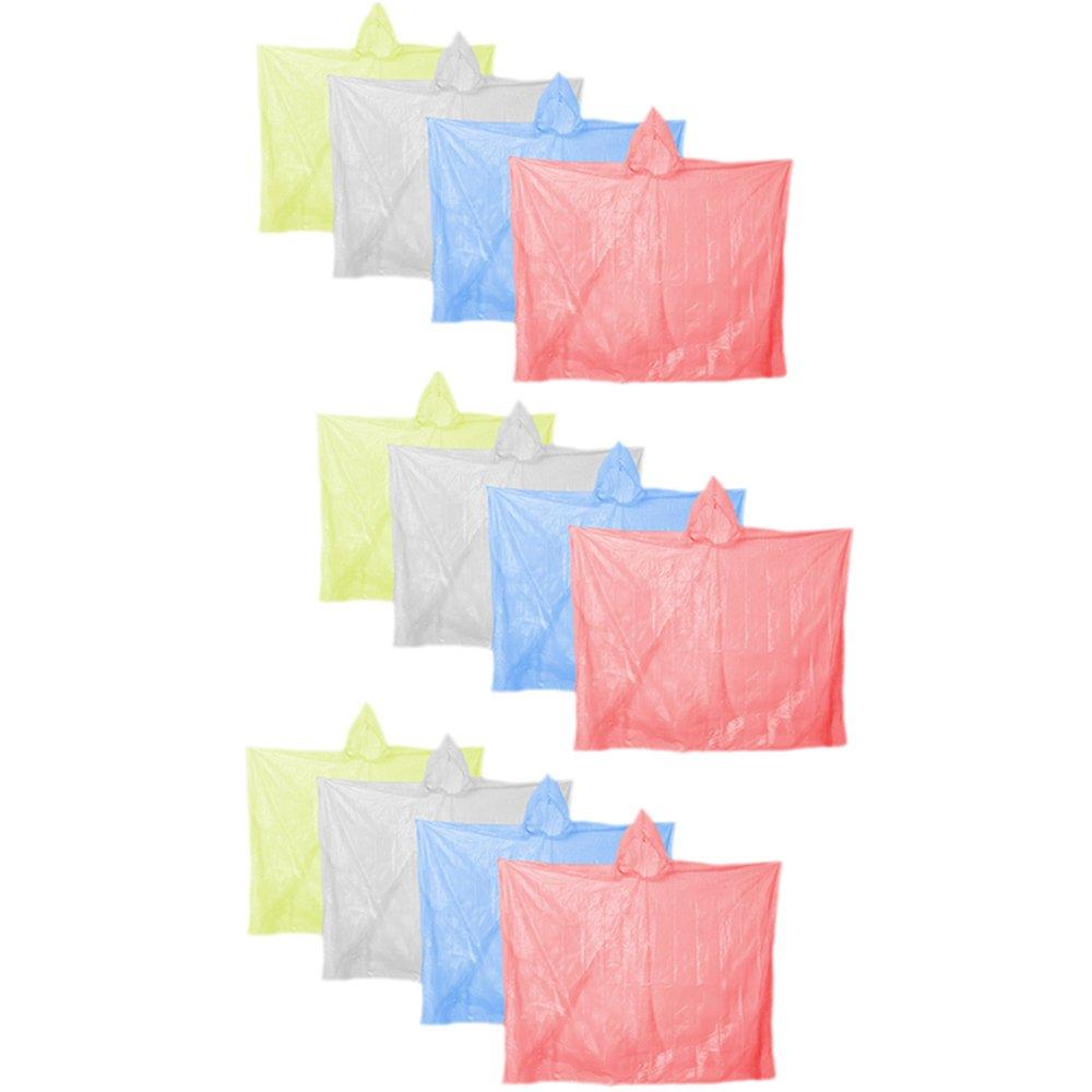 COM de Four® Lluvia Poncho emergencia Poncho Lluvia Poncho con capucha–Lluvia Para Todas Las Ocasiones Multicolor 12x Mehrfarbig talla única