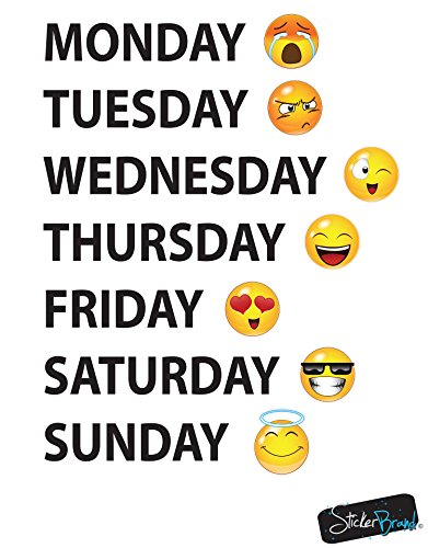 Days of the Week Emoji Vinyl Wall Decal - 22in X 17in