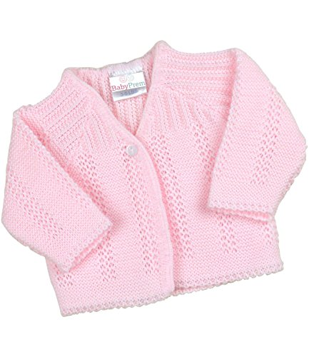 - BabyPrem Preemie Baby Cardigan Jacket Boy Girl Buttons Soft Knitted 3-5lb PINK