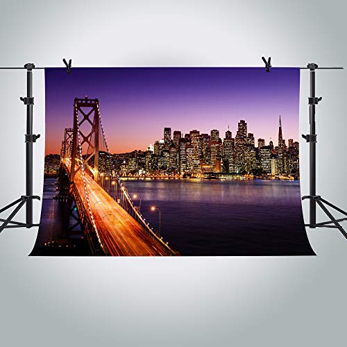 MME 10X7ft Los Angeles City Night View Backdrop YouTube Photography City Theme Party Photography Background for Parties Supplies ME422]()
