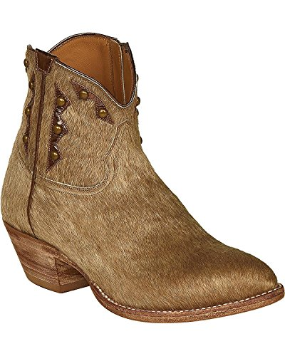 Lucchese Women's Handmade Hair-On Calf Demi Cowgirl Booties Pointed Toe Natural 11 M US