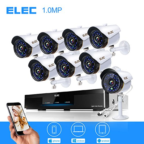 ELEC 8-Channel HD-AHD 1080P Lite Video Security System DVR and (8) 1.3MP 2000TVL Indoor/Outdoor Weatherproof Cameras with IR Night Vision LEDs- NO HDD by ELEC
