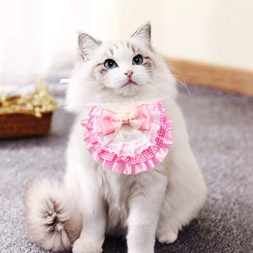 AriTan Pet Bandana Costume, Cat Lace Apparel Triangle Scarf Accessories, Dress up Lace Breathable Bibs for Small and…