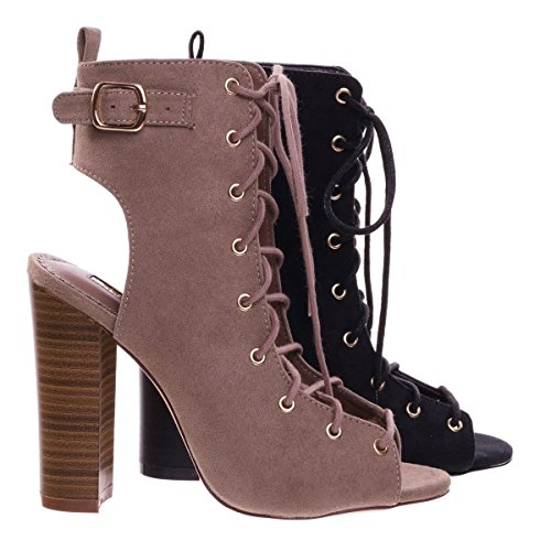 Open Toe Combat Corset Lace Up Dress Boot Su Tacco Largo Blocco E Punta Aperta Beige Talpa
