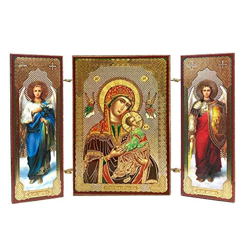 World Faith Religious Icon Wooden Triptych Virgin of Passions - Our Lady of Perpetual Help - with Archangel Michael and Gabriel 3 3/8 Inch Triptych