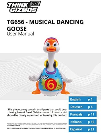 Walking, Talking, Singing and Dancing Musical Hip Hop Goose TG656 – Cool Dancing Toy for Boys and Girls Kids or Toddlers - Gift for 1 2 3 4 5 Year Old Boy or Girl by ThinkGizmos (Trademark Protected)