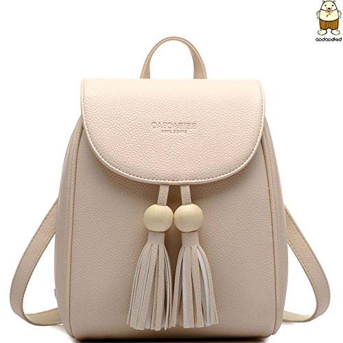 Vintage Black Tassel Casual Backpack Women Pu Travel Mini Hobo Bag Beige