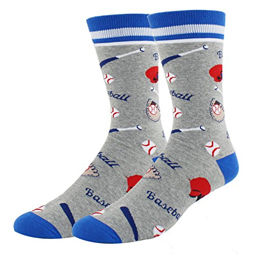 - Mens Novelty Baseball Cotton Funny Crew Socks Crazy Cool Sports Socks in Grey