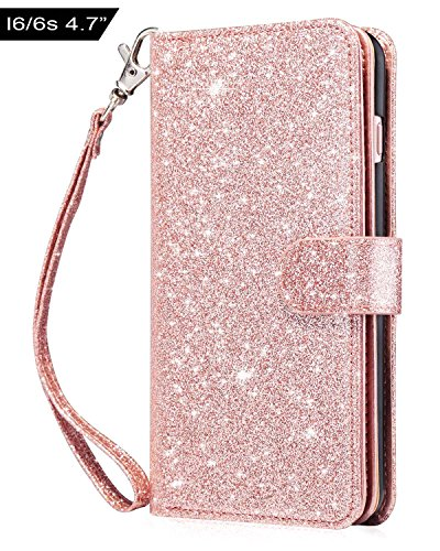 Dailylux iPhone 6S Case,iPhone 6 Case,iPhone 6S Wallet Case Premium Soft PU Leather Closure Flip Cover with 9 Card Slot Luxury Bling Case for Apple iPhone 6/6s 4.7 inch-Glitter Rose Gold
