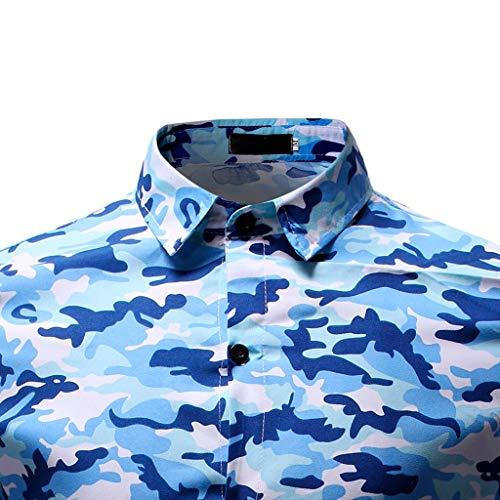 Risvolto Manica 100 Lunga Camicia Traspirante shirt Blu Elegante Fiori Per Stampa T Uomo Qinsling Maglione Cotone A 5xgqnEfn7