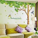 "SWORNA Nature Series Large Tree with Birds Kids Nursery Removable Vinyl DIY Wall Mural Decal Children's/Baby's Bedroom/kindergarten/Classroom/LivingRoom/School/Home Office 79"" H X 130"" W, Multicolore"
