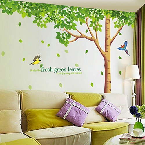 SWORNA-Nature-Series-Large-Tree-with-Birds-Kids-Nursery-Removable-Vinyl-DIY-Wall-Mural-Decal-ChildrensBabys-BedroomkindergartenClassroomLivingRoomSchoolHome-Office-79-H-X-130-W-Multicolore