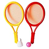 Lanlan Plastic Rackets Set Tennis Racquets Battledores with Tennis and Badminton Children Sports Toy Random Color