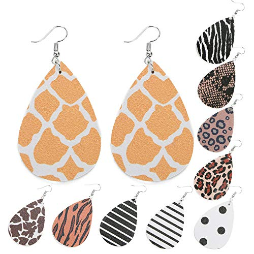 10 Pairs Leather Earrings Teardrop Leather Earrings Petal Drop Leaf Dangle Earrings for Girls Women