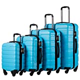 COOLIFE Luggage 4 Piece Set Suitcase Spinner Hardshell Lightweight TSA Lock (Family Set-Sky Blue)