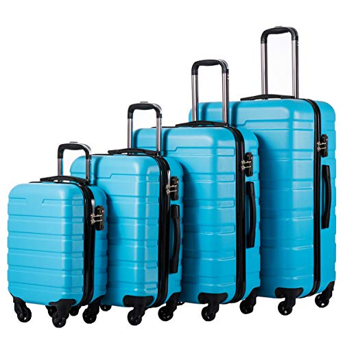 (COOLIFE Luggage 4 Piece Set Suitcase Spinner Hardshell Lightweight TSA Lock (Family Set-Sky Blue))