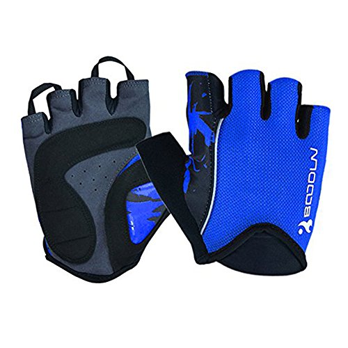 Ezyoutdoor Breathable Super Pads Silica Bike Half Finger Cycling Gloves Short Mesh Bicycle Biking Riding Fitness Exercise Cycling Equipment Gloves (Blue, Medium)