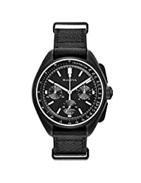 Bulova 98A186 Special Edition Moon Black Chronograph Leather Men's Watch