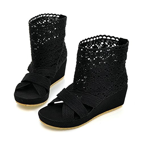 Bdawin Ladies Knitted Wedge Sandals Open Toe Hollow Out Slip on Platform Ankle Boots Black rsfOXwYp7J