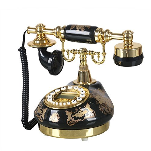 SAN_X Retro Phone Antique Telephone - Home Garden Retro Phone/Old-Fashioned Office landline/Living Room Fixed Telephone Black from SAN_X