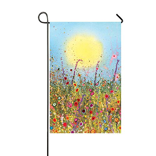 XIANSHI Garden Flag Outdoor Decorations All Seasons Weather station, Double Sided 12.5''18'' Inch Sunshine