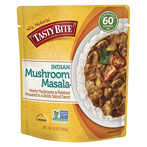 Tasty Bite Indian Entree Mushroom Masala 10 Ounce (Pack of 6), Fully Cooked Indian Entrée with Mushrooms & Potatoes in a Richly Spiced Sauce, Vegan, Gluten Free, Microwaveable, (4 Set(Pack of 6)) ()