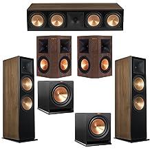 Klipsch 5.2 Walnut System with 2 RF-7 III Floorstanding Speakers, 1 RC-64 III Center Speaker, 2 Klipsch RP-250S Surround Speakers, 2 Klipsch R-112SW Subwoofers