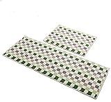 kitchen floor mat green - Easychan 2 Piece Carpet Rubber Backing Non-Slip Kitchen Rugs Mat Doormat Area Rugs (17