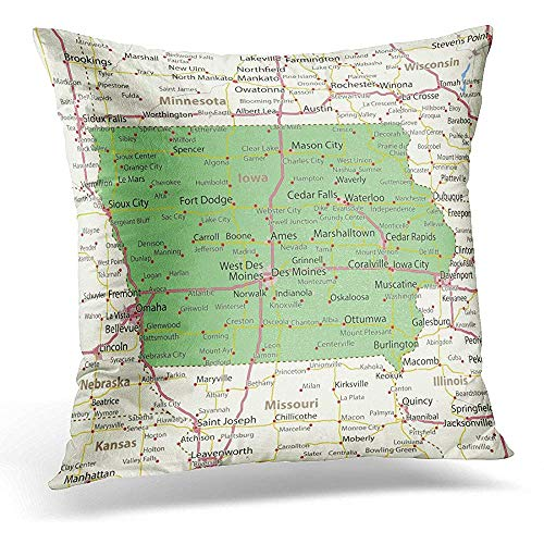- Throw Pillow Covers America Iowa Map Shows State Borders Urban Areas Place Names Roads and Highways Projection Mercator Decorative Pillows case 18 x 18 Inches Home Decor Sofa Cushion Cover