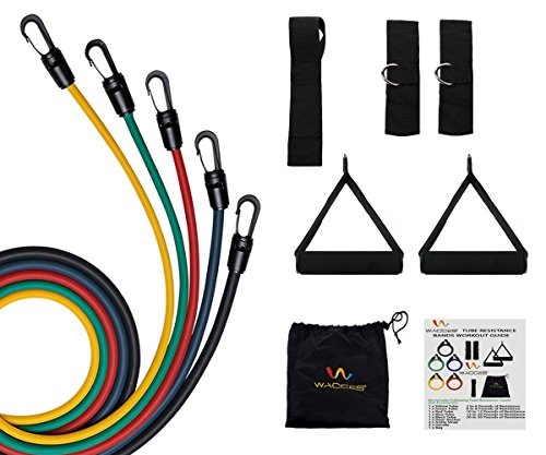 Wacces 5-level Exercise Latex Tube Variable Resistance Band Set