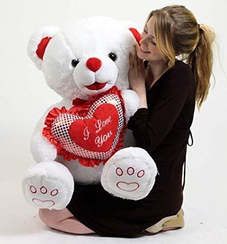 Big Plush White Soft Valentines Day Teddy Bear 30 Inch Valentine Holds I Love You Heart Pillow ()