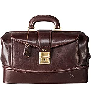 Maxwell Scott Personalised Full Grain Italian Leather Doctor Bag – DonniniS Brown