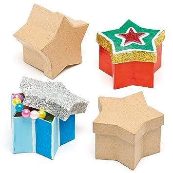 Star Moldeadas Papel Mache Cajas Para Niños Para Decorar Paquete De 10: Amazon.es: Juguetes y juegos